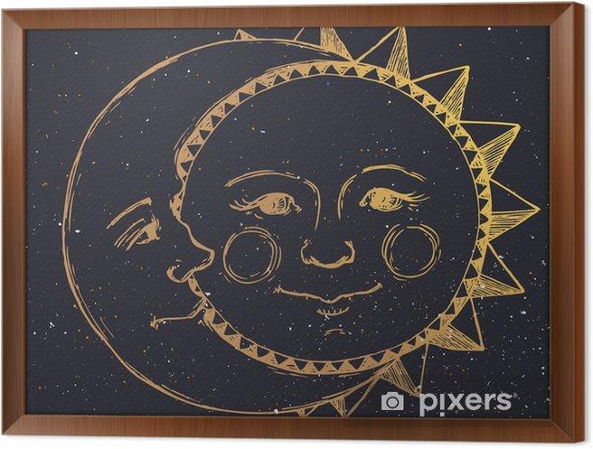 Käsin piirretty aurinko kuun kanssa Kehystetty kangaskuva - Graafiset Resurssit