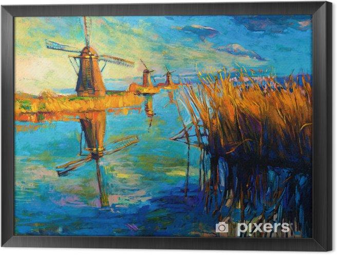 Tuulimyllyt Kehystetty kangaskuva - Mills and windmills