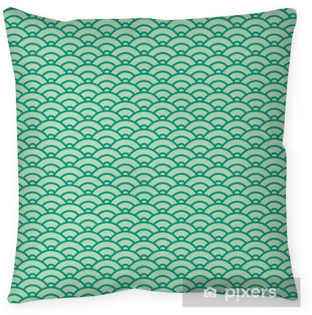 Kissenbezug Grundlegende japanische Welle nahtlose Muster. grünes Farbschema - Grafische Elemente