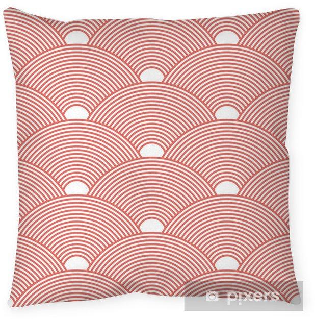 Kissenbezug Nahtloser roter dichter asiatischer Mustervektor - Grafische Elemente