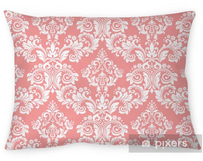 Kissenbezug Tapeten im barocken Stil. ein nahtloser Vektor Hintergrund. weiße und rosa Blumenverzierung. Grafikmuster für Stoff, Tapete, Verpackung. verzierte Damastblumenverzierung - Grafische Elemente