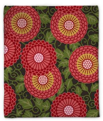 Koc pluszowy Tradycyjne kwiaty bez szwu wzór