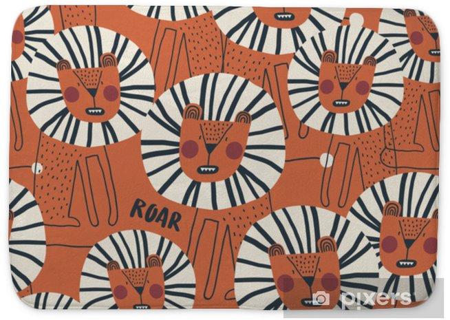 Koupelnová předložka Roztomilý vzor bezešvé s nebezpečným levem. ideální pro dětské oblečení, textilie, textil, dekorace školky, balicí papír. módní skandinávské vektor vzor. - Zvířata