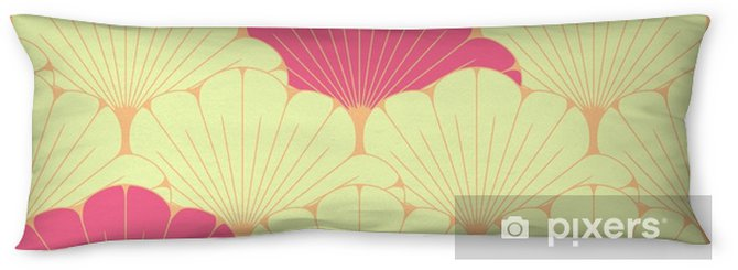 Kroppskudde En japansk stil sömlös kakel med exotiskt lövmönster i rosa - Grafiska resurser