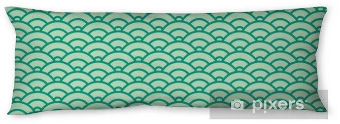 Kroppskudde Grundläggande japanska våg sömlösa mönster. grönt färgschema - Grafiska resurser