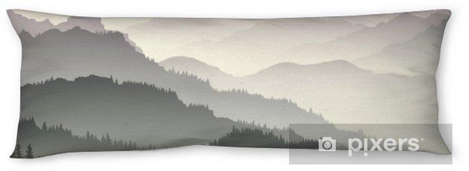 Kroppskudde Horisontell illustration av skymning i skogskullar. - Landskap