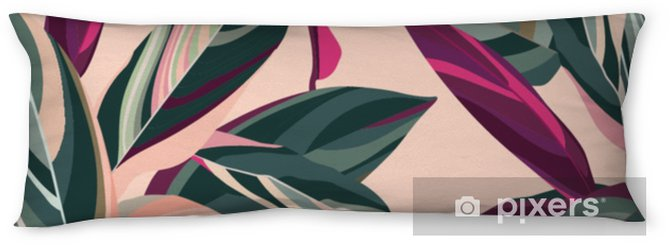 Kroppskudde Löv av cordelia på en rosa bakgrund. blommigt sömlöst mönster. - Växter & blommor