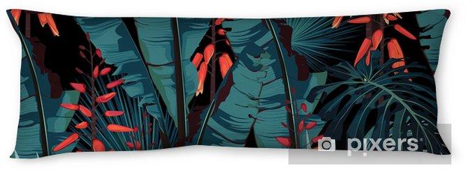 Kroppskudde Sömlös mönster blommig akvarell stil design: saftiga i blom med orange blommor och palm och bananer lämnar. modern ljus sommar print design. svart bakgrundsutskrift. - Växter & blommor