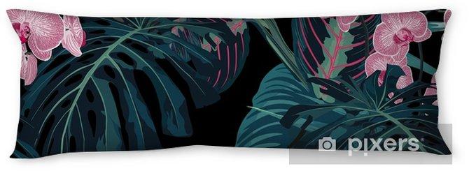 Kroppskudde Sömlöst mönster, mörkgröna färger palmblad och tropiska rosa orkidéblommor på svart bakgrund. vintagestil. - Växter & blommor