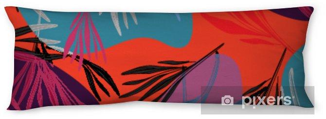 Kroppskudde Tropisk färgrik palmblad bakgrund. vektor ljus sommar blommig illustration. lövverk trädtryck. exotisk skogsbruk .. - Grafiska resurser