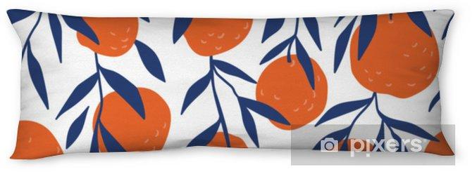 Kroppskudde Tropiskt sömlöst mönster med röda apelsiner. frukt upprepad bakgrund. vektor ljust tryck för tyg eller tapeter. - Grafiska resurser