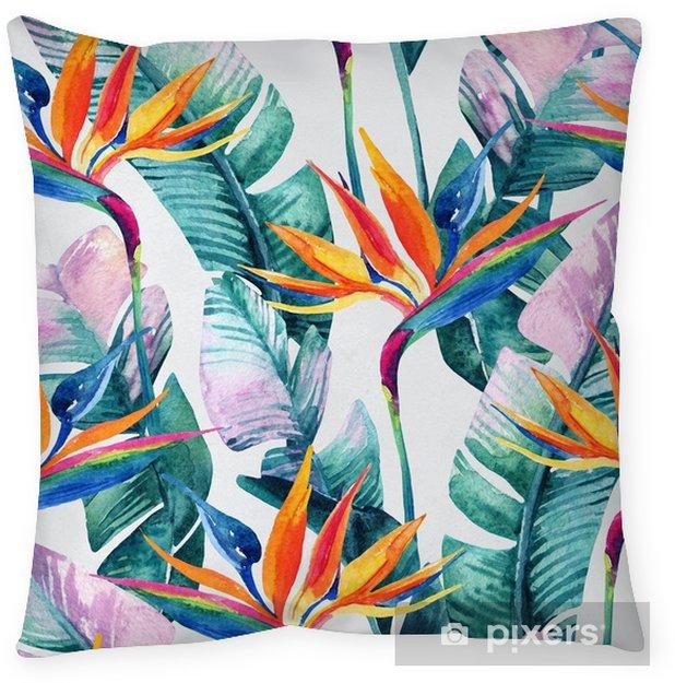 Kussensloop Aquarel tropische naadloze patroon met paradijsvogel bloem. - Bloemen en Planten