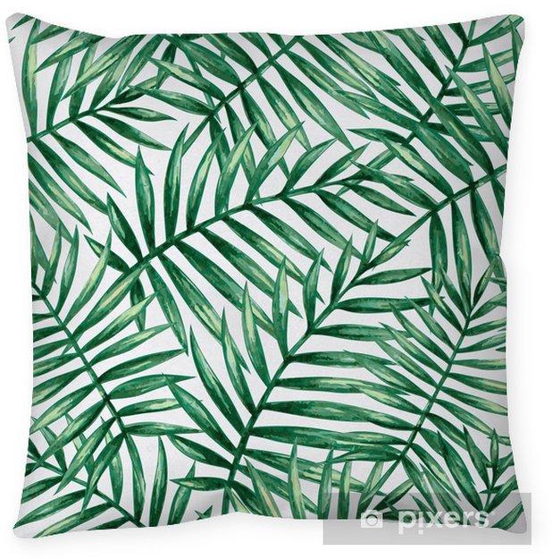 Kussensloop Aquarel tropische palm verlaat naadloze patroon. vectorillustratie - Grafische Bronnen