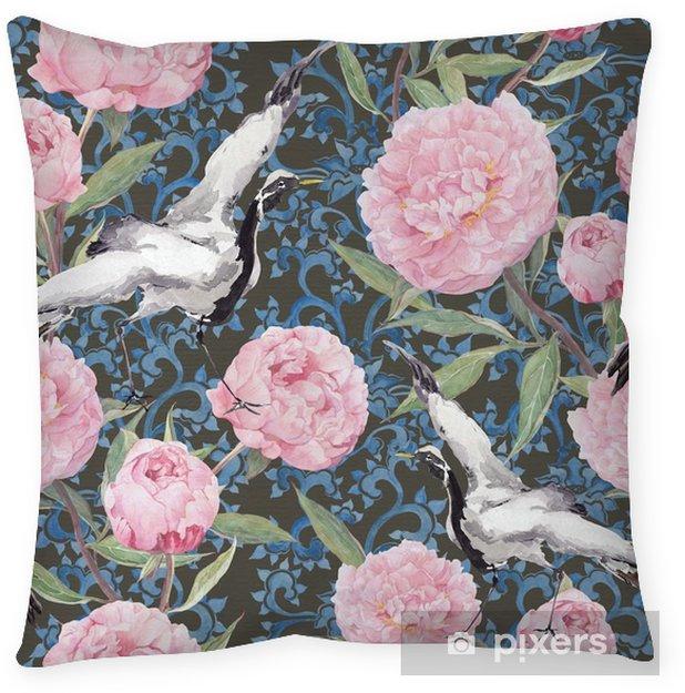 Kussensloop Crane vogels, pioenrozen. Bloemen herhalen chinese patroon. Waterverf - Bloemen en Planten