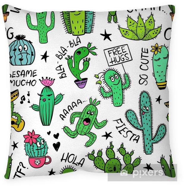 Kussensloop Grappig naadloos patroon van cactuskarakters. - Bloemen en Planten