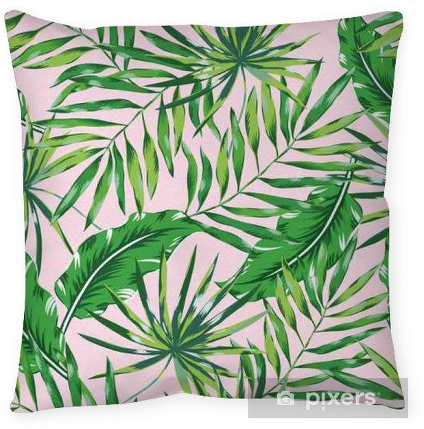 Kussensloop Groene palmbladeren op de roze achtergrond. Vector naadloos patroon. Tropische illustratie. Jungle gebladerte. - Bloemen en Planten