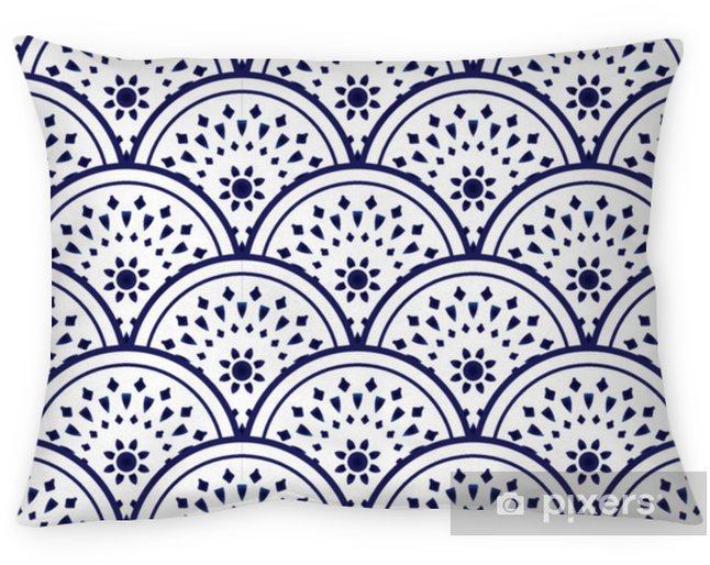 Kussensloop Keramisch patroon blauw en wit - Grafische Bronnen