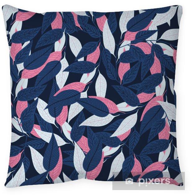 Kussensloop Naadloze bloemmotief. bladpatroon op donkerblauwe achtergrond voor drukontwerp. vectorillustratie - Bloemen en Planten