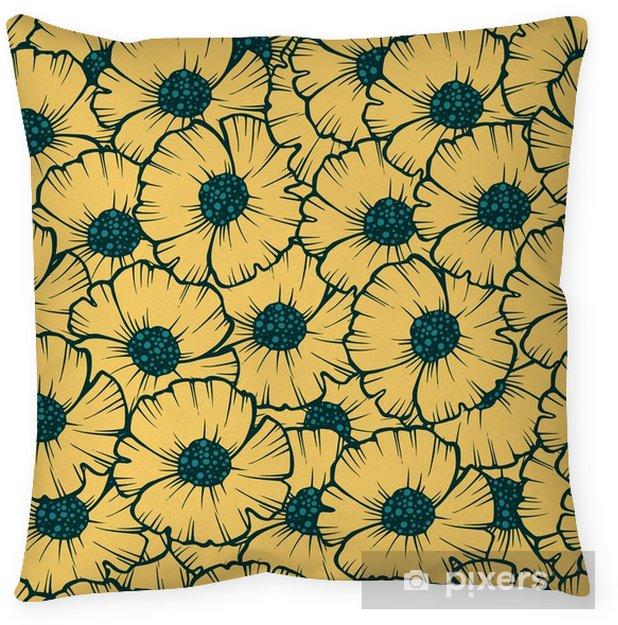 Kussensloop Naadloze patroon poppy vectorillustratie voor stof, behang, geschenkverpakking, briefkaarten, groet en uitnodiging. - Bloemen en Planten
