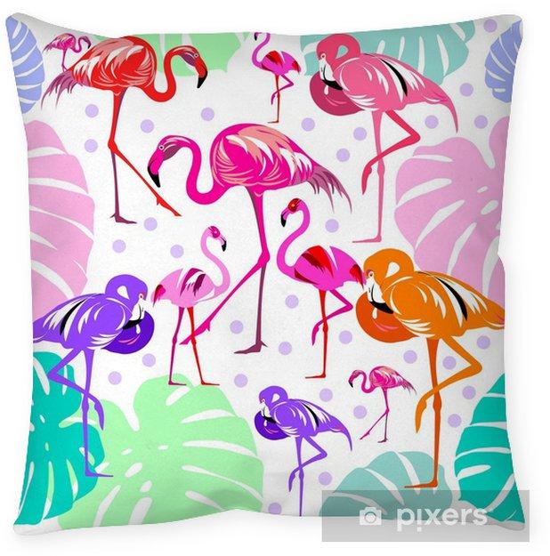 Kussensloop Naadloze patroon van flamingo, bladeren monstera, tropische bladeren van palmboom. vector achtergrond. - Grafische Bronnen