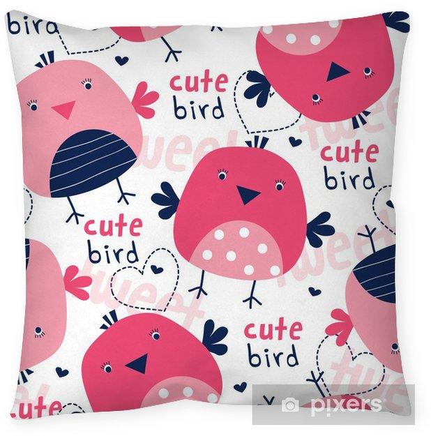 Kussensloop Naadloze schattig vogel patroon vectorillustratie - Dieren