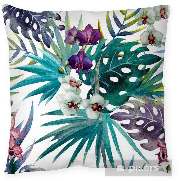 Kussensloop Patroon met bladeren van de orchidee hibiscus, waterverf - iStaging