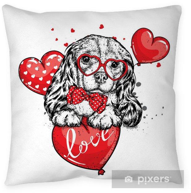 Kussensloop Schattige hond met harten, bril en een stropdas. vectorillustratie voor een briefkaart of een poster, afdrukken voor kleding. Valentijnsdag, liefde en vriendschap. rasechte puppy in kleding en accessoires. - Dieren