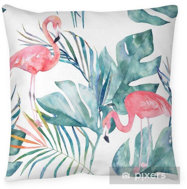 Kussensloop Tropische naadloze patroon met flamingo en bladeren. aquarel zomer print. exotische hand getrokken illustratie - Dieren