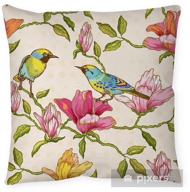 Kussensloop Uitstekende Naadloze Achtergrond - Bloemen en Vogels - Seizoenen