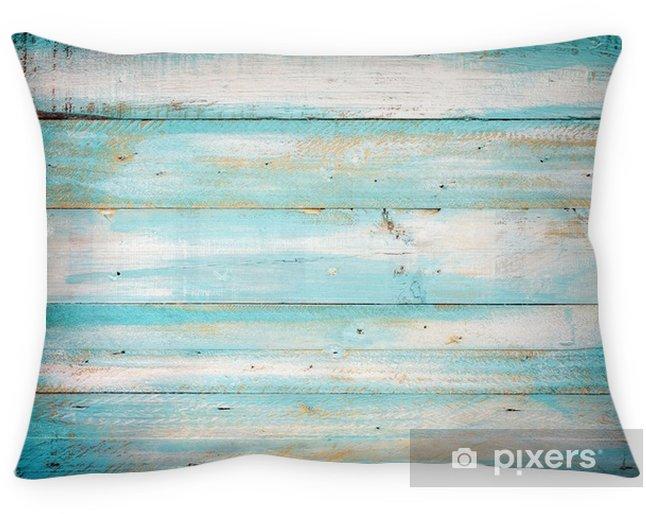Kussensloop Uitstekende strand houten achtergrond - oude blauwe kleuren houten plank - Grafische Bronnen