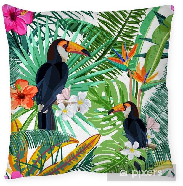 Kussensloop Vector naadloze patroon met groene tropische palmbladeren, hibiscusbloemen en vogeltoekan. natuur achtergrond. zomer of lente trendy designelementen voor mode textielprints en wenskaarten. - Dieren