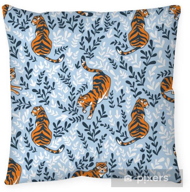 Kussensloop Vector naadloze patroon met tijgers geïsoleerd op de florale achtergrond. dierlijke achtergrond voor stof of behang boho ontwerp. - Grafische Bronnen