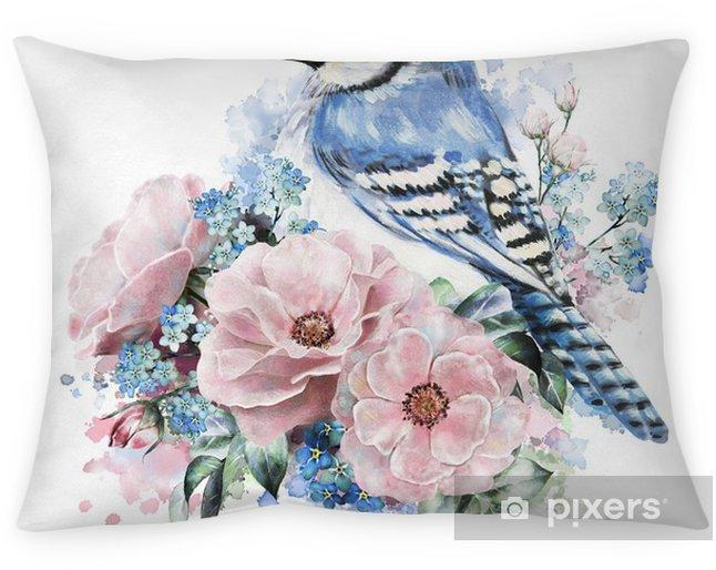 Kussensloop Waterverfbloemen, roos met me-nots en blauwe Vlaamse gaai. bloemenillustratie, in pastelkleuren. tak van bloemen geïsoleerd op een witte achtergrond. blad en knoppen. samenstelling voor de wenskaart. verf spatten - Bloemen en Planten