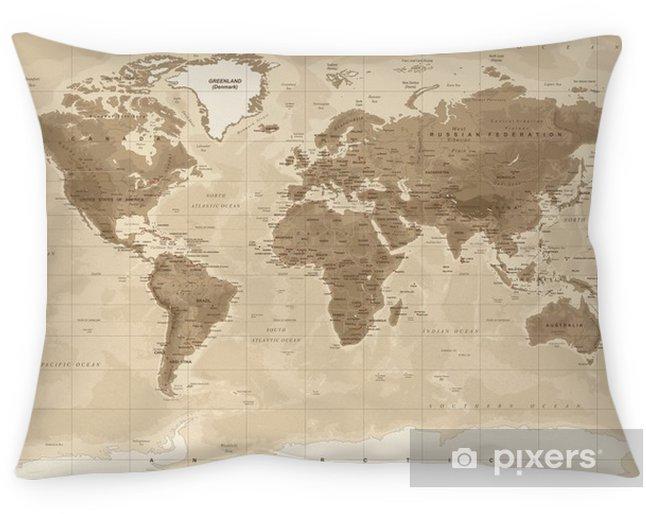 Kussensloop Wereldkaart fysieke vintage - vector - Reizen