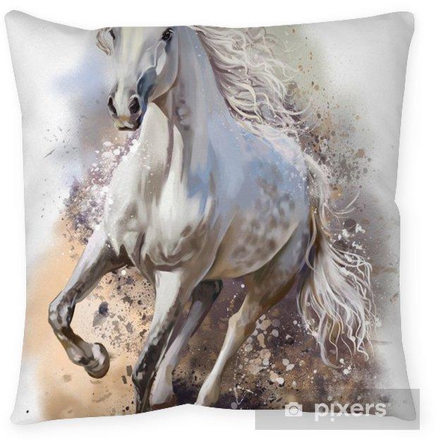 Kussensloop Wit paard loopt aquarel - Dieren