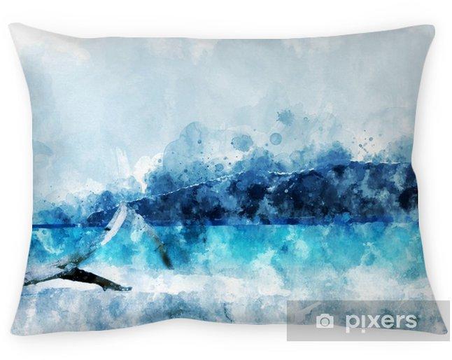 Kussensloop Zandstrand op het eiland, blauw water in de zee, digitaal aquarel - Reizen