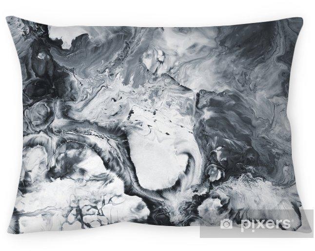Kussensloop Zwart en wit marmer abstracte handgeschilderde achtergrond - Grafische Bronnen