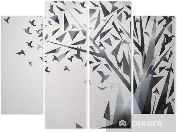 Kwadryptyk Abstrakcyjna drzewa z ptaków origami. - Tematy