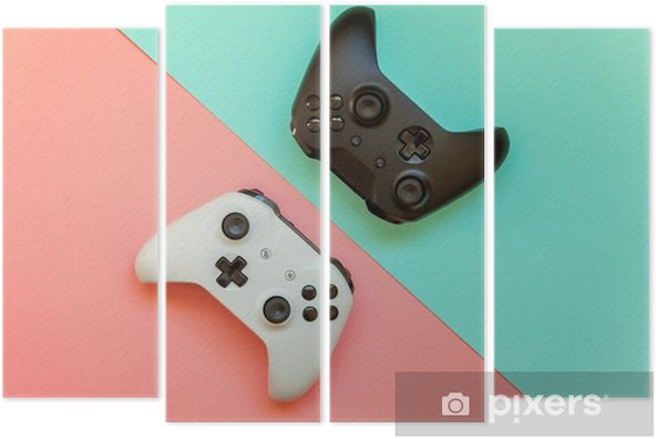 Kwadryptyk Biały i czarny gamepad dwa joysticki, konsola do gier na różowym i niebieskim tle modnej mody nowoczesny pin-up. rywalizacja komputerowa gry koncepcja gry kontrolnej konfrontacji - Hobby i rozrywka