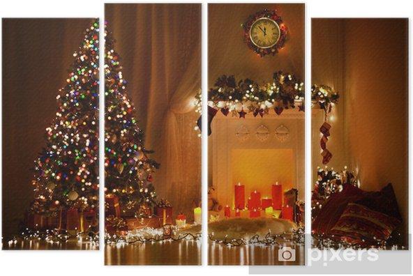 Kwadryptyk Christmas Room Interior Design, Xmas tree zdobione Lights - Boże Narodzenie
