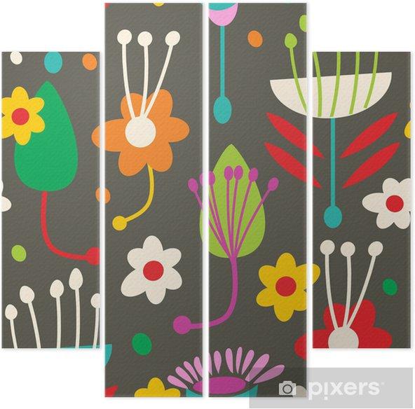 Kwadryptyk Doodle bez szwu kwiatowy wzór - Tła