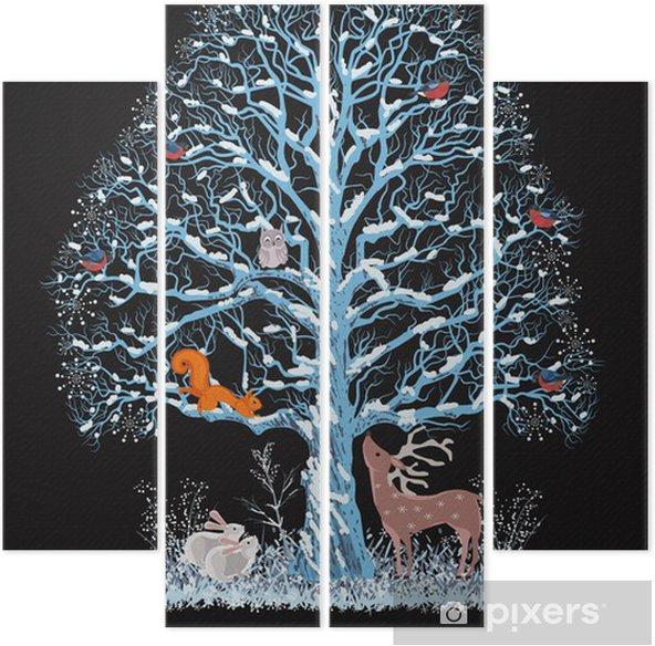 Kwadryptyk Duży niebieski drzewa z różnych zwierząt na czarnym tle - Święta międzynarodowe