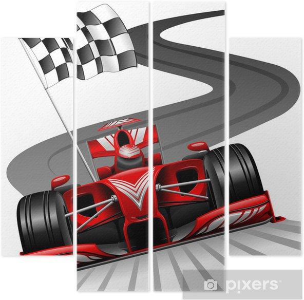 Kwadryptyk Formuła 1 czerwony samochód na tor wyścigowy - Naklejki na ścianę