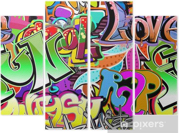 Kwadryptyk Graffiti ściany. tła miejskiego sztuki wektor. powtarzalne wzór - Tematy