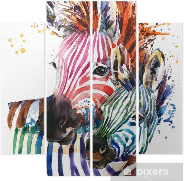 Kwadryptyk Ilustracja zebra z akwarela tekstury rozchlapać. tęcza tło do druku mody, plakat do tekstyliów, projektowanie mody - Zwierzęta