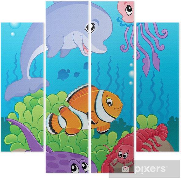 Kwadryptyk Obraz z podmorskiego tematu 5 - Tematy
