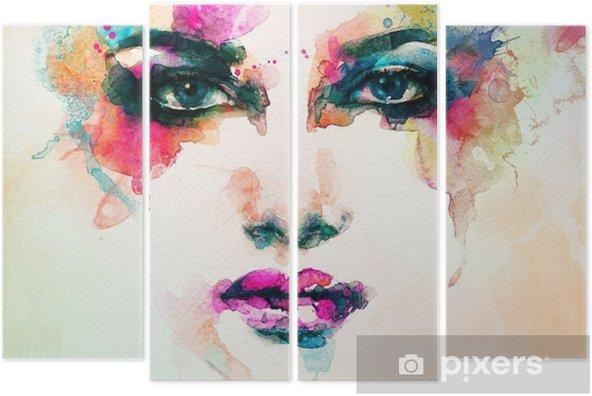 Kwadryptyk Portret kobiety .abstract tle akwarela .fashion - Ludzie