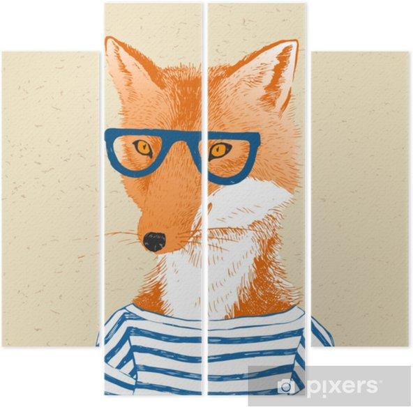 Kwadryptyk Ręcznie rysowane ubrane Lis w stylu hipster - Zwierzęta