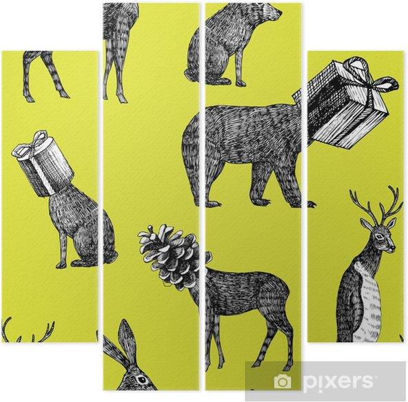 Kwadryptyk Ręcznie rysowane zwierzęta zima bez szwu tła - Zwierzęta