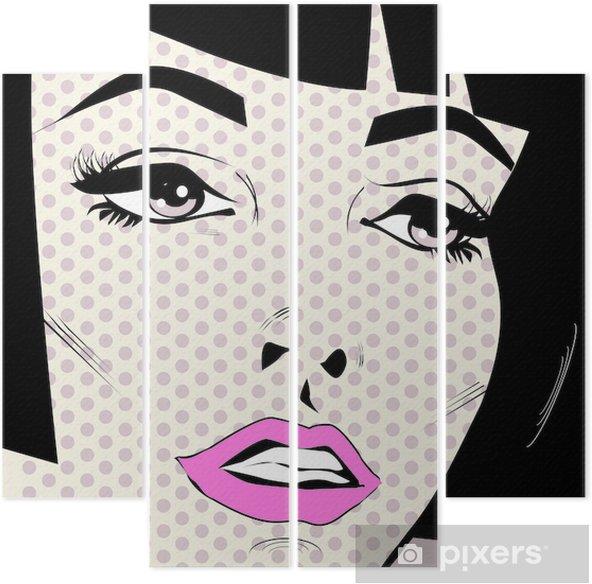 Kwadryptyk Twarz kobieta rocznika retro pop art plakat - Tematy